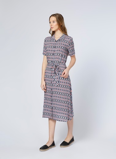 Limon Company Kısa Kollu Desenli Midi Gömlek Elbise Lacivert